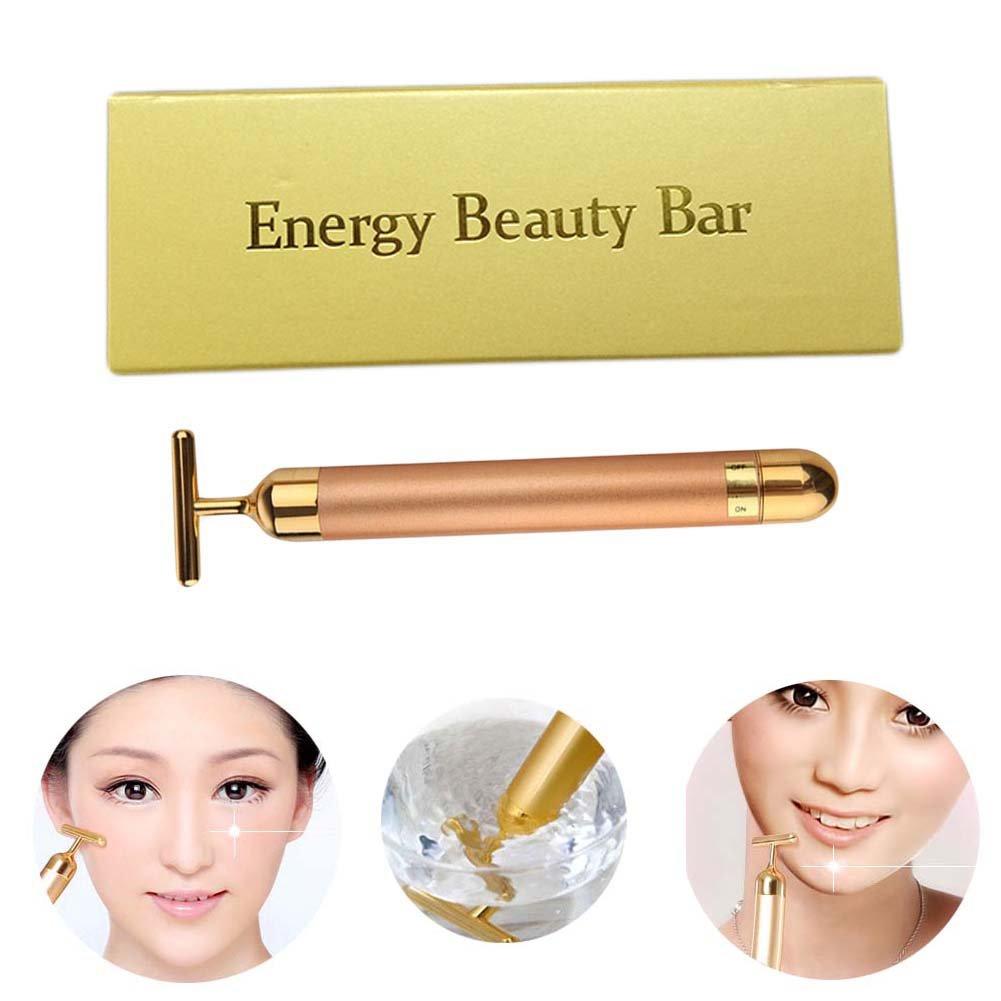 Shouhengda Slimming Face 24k Gold Vibration Facial Beauty Roller Massager Stick Lift Skin Tightening Wrinkle Stick Bar Face Skin Care