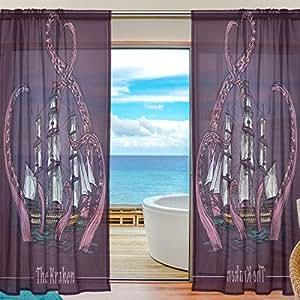 Cooper niña pulpo tentáculos decorativo barco ventana cortina sheer Panel Drapes 55x 78para salón o dormitorio habitación de los niños 2piezas