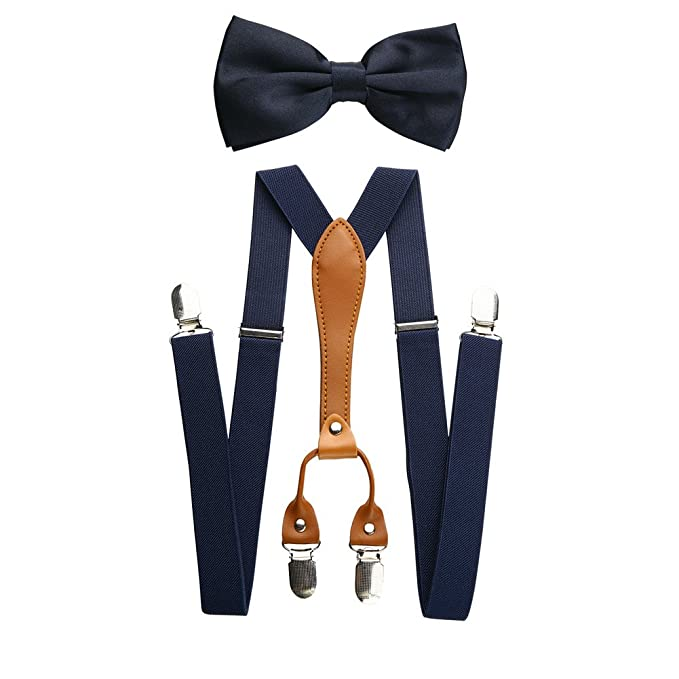 6544b2bbdfd29 Mens Adjustable Elastic Suspenders And Bow Tie Set (Navy): Amazon.co ...