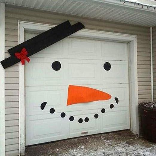 Amazon Com Benefit X Christmas Garage Door Decorations Diy Christmas Snowman Decoration Old Man Elk Bow Hat Garage Door Christmas Decals For Wall Outdoors Christmas Decoration Home Kitchen