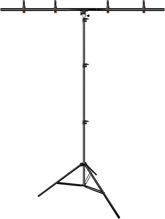 Emart T-Shape Portable Background Backdrop Support Stand Kit 5ft Wide 8.5ft Tall Adjustable Photo Backdrop Stand with 4 Spring Clamps