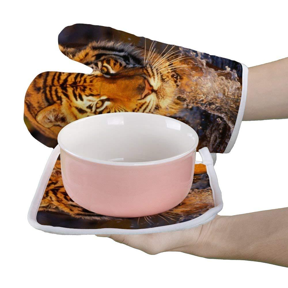 Soloatman Gants de Cuisine antid/érapants et r/ésistants /à la Chaleur Motif Tigre