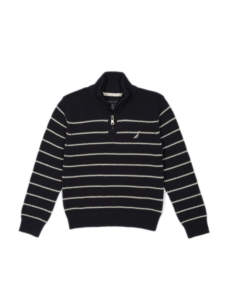 Nautica Little Boys' Zip Neck Striped Sweater, Sport Navy, 7