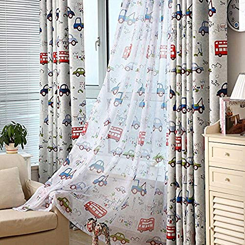 AiFish 1 Panel Kids Curtains Sheer Panels 84 Inches Long Cartoon Car and Bus Print Sheer Curtains Boys Room Rod Pocket Curtains Drapes Window Treatment for Bedroom W39 x L84 inch
