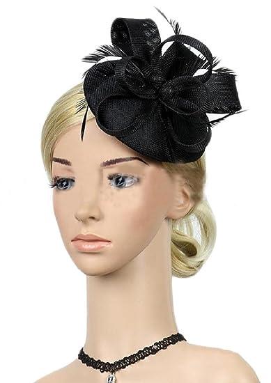 GAGA Women s Vintage Feather Fascinators Derby Hat Hair Clip Veil Cocktail  Headpiece Tea Party Black OS at Amazon Women s Clothing store  a2b3e1e3cd8