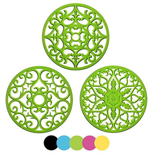 (ME.FAN 3 Set Silicone Multi-Use Intricately Carved Trivet Mat - Insulated Flexible Durable Non Slip Coasters)
