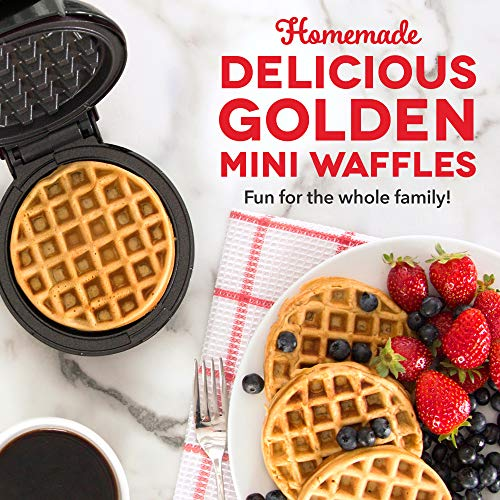 Dash Mini Maker: The Mini Waffle Maker Machine for Individual Waffles, Paninis, Hash browns, & other on the go Breakfast, Lunch, or Snacks - Black