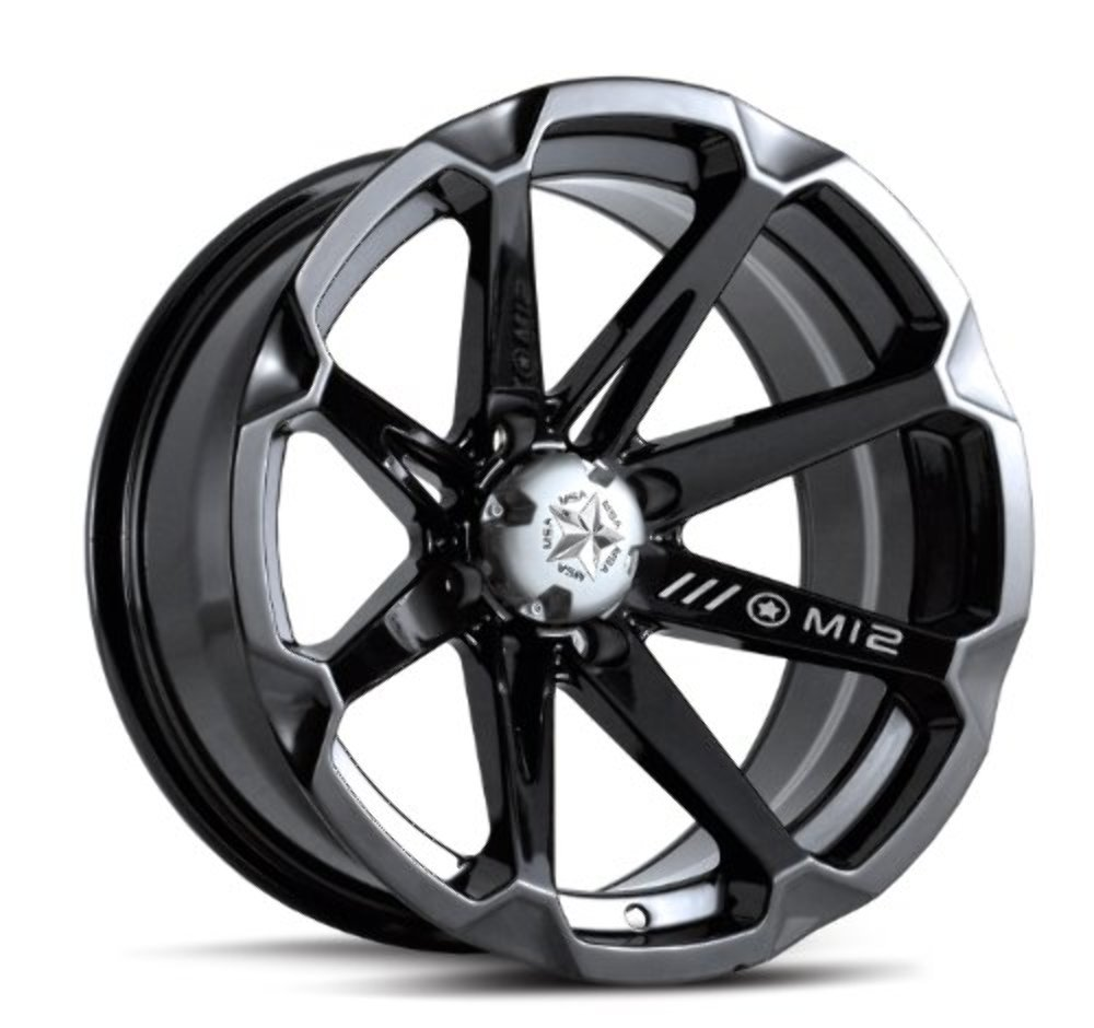 MotoSport Alloys M12 Diesel Gloss Black ATV Wheel UTV Wheel (14x7''/4x156)