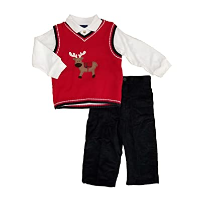 Great Guy Infant Boys 3pc Holiday Outfit Reindeer Sweater Vest Shirt & Corduroy Pants Set