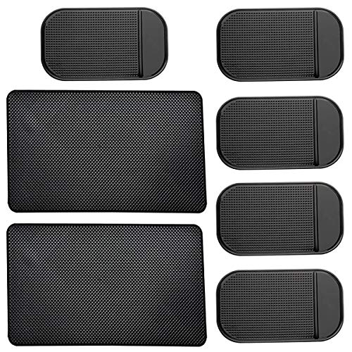 (7 Pack Car Dashboard Anti-Slip Mat, 2 Sizes Heat Resistant Sticky Non-Slip Ripple Gel Latex Dash Grip Pad for Cell Phone Sunglasses Keys Coins by ACKLLR,Black)