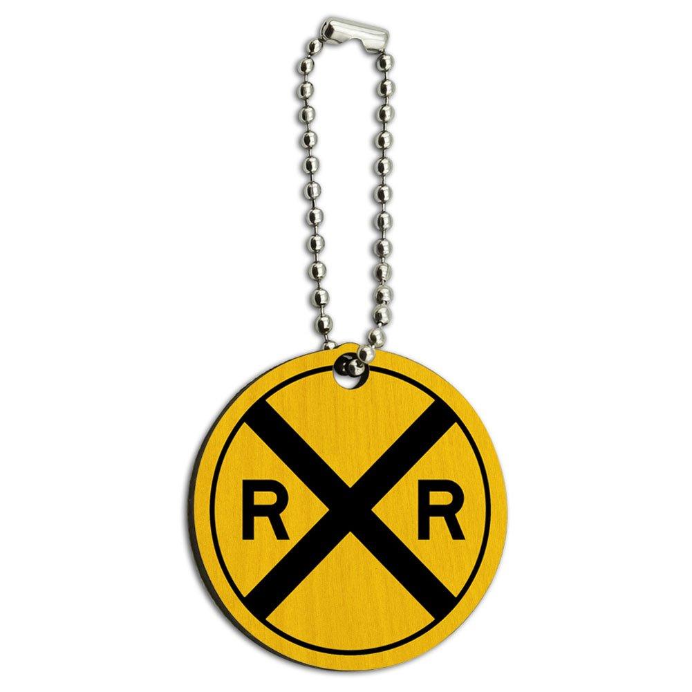 Railroad crossing Traffic Sign Train Wood Wooden Round Key Chain