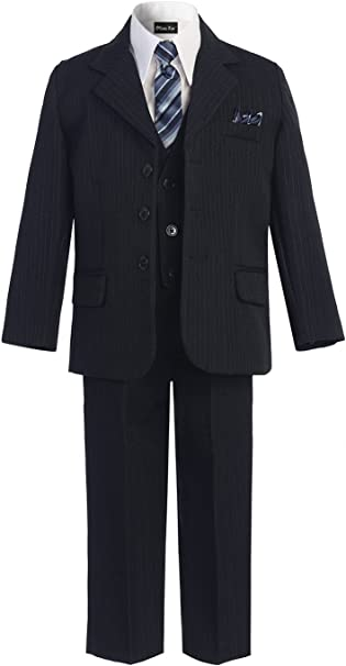 Boys Gray Pin Stripe Formal Dress Tuxedo w//Vest 5-piece Suit Set size S-XL 2T-20