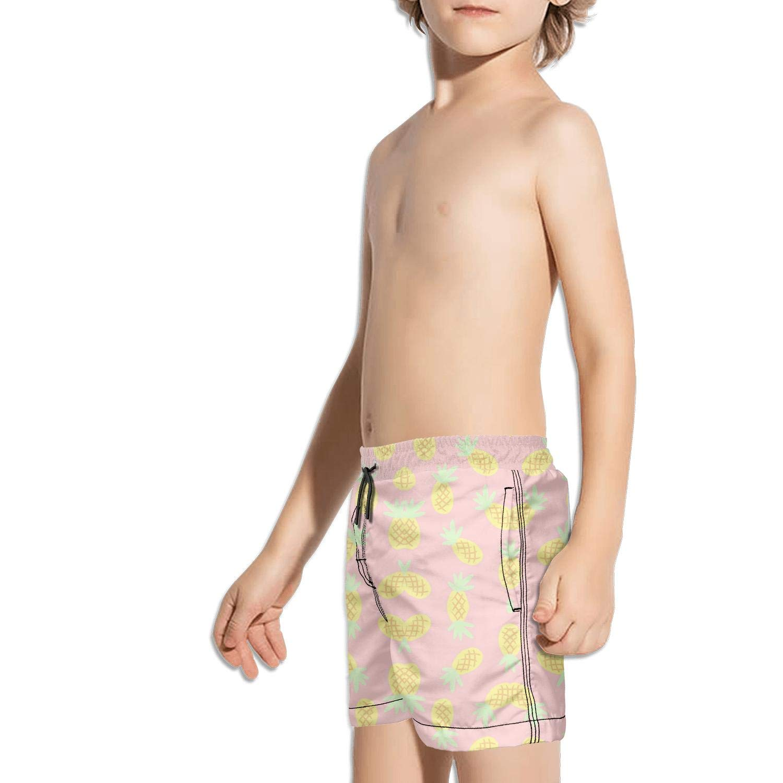 Shorts Swim for Kid Quick Dry Side Split Adjustable Swim Pocket Vacation Funny Pineapple