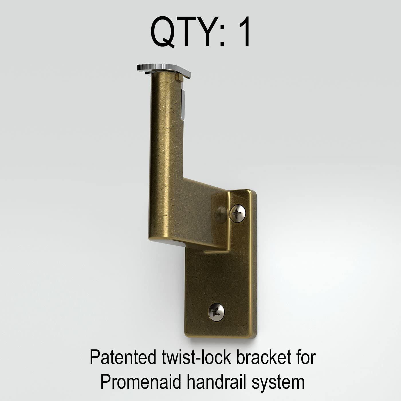 Clip in Place Pivots for All Angles Handrail Bracket for Promenaid System ADA Compliant Matte Nickel-Plated Finish Supports 500 lbs