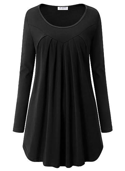 c0e78ed6e144 Bulotus Black Tops For Women, Ladies Long Sleeve Scoop Hem Elegant Basic  Solid Tunic Knit