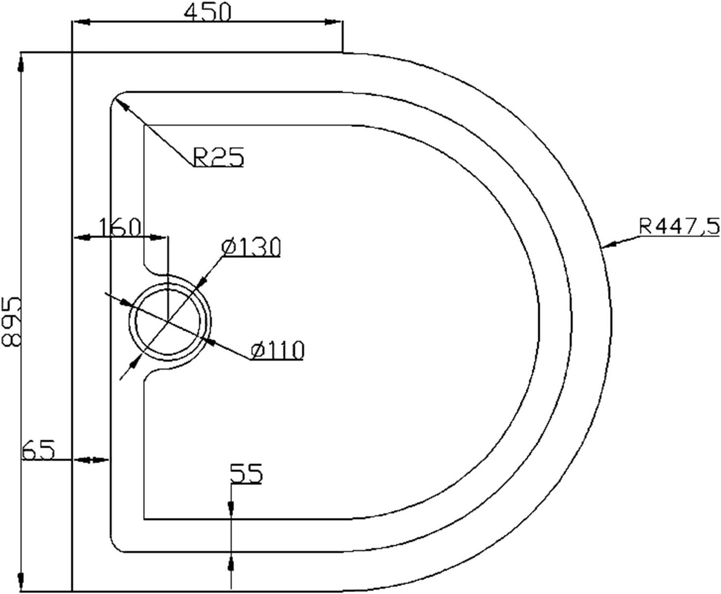 Receveur de douche 80x80 bac /à douche carr/é extraplat acrilique blanc Sogood Faro01 80x80x4