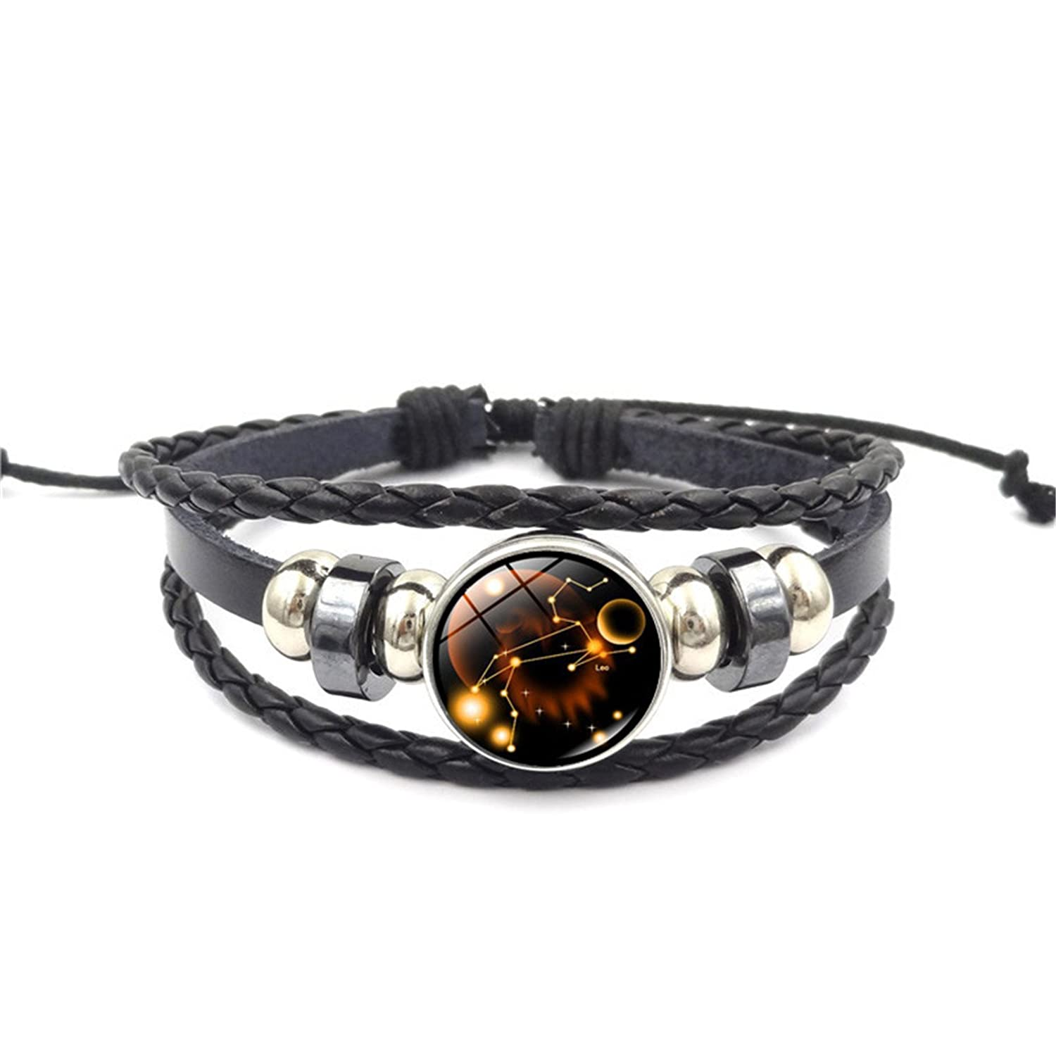 12 Constellations Beaded Hand Woven Leather Bracelet And Moon Pendant Necklace Zodiac Jewelry