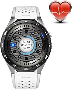 KW88 3G WiFi Smart Watch Cell Phone All-in-One Bluetooth Android SIM Card with GPS,Camera,Heart Rate Monitor,Google map (White/Silver)