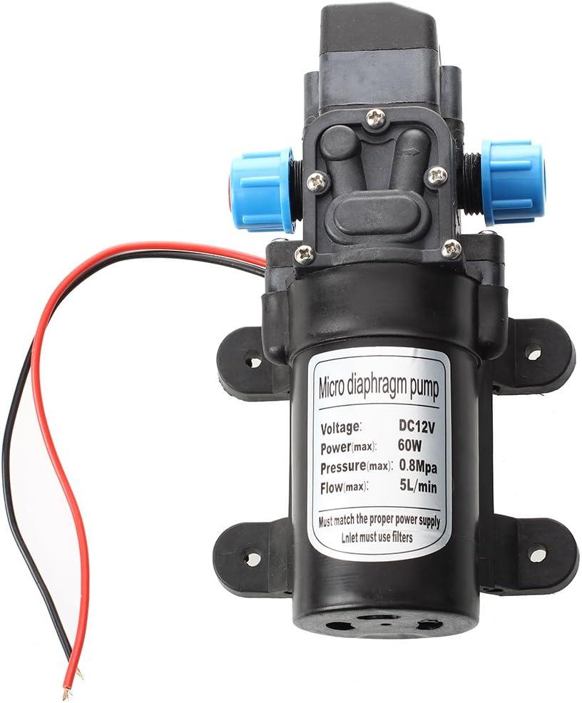 Sodial (R) - Bomba de agua negra con micromembrana, CC, 12 V, 60 W, bomba de agua de alta presión, conmutación automática, 5 l/min