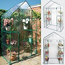 Portable 4 Shelves Walk In Greenhouse Outdoor 3 Tier Green House New