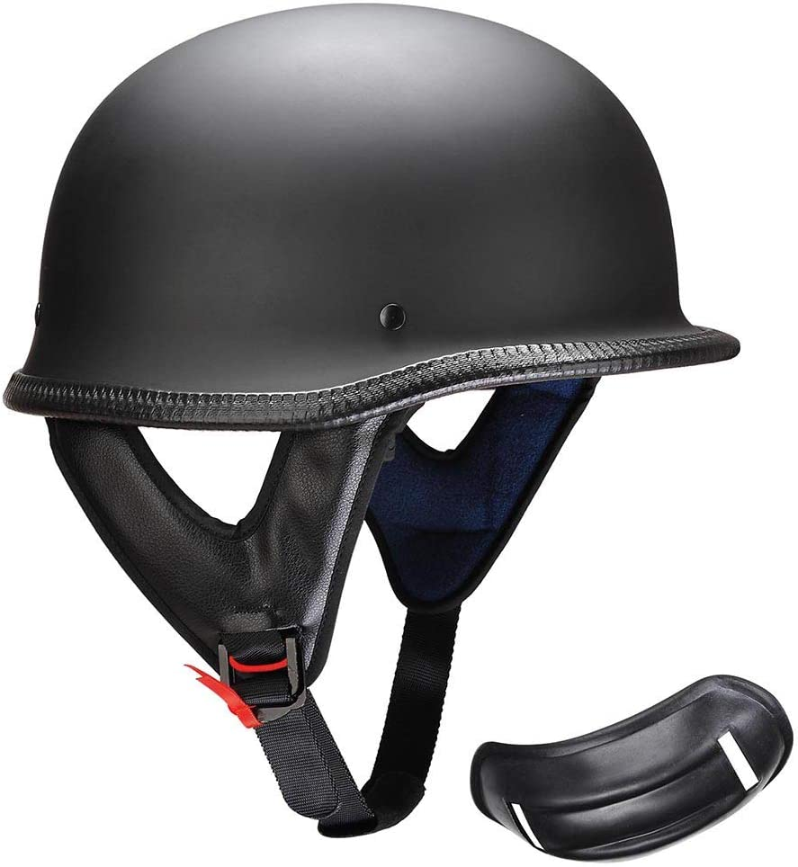 Retro Motorcycle Helmets Matte Black German Half Face Helmet Chopper Biker Hats