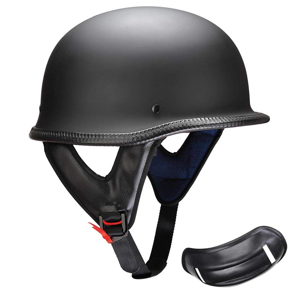 AHR Open Face DOT Motorcycle Half Helmet German Style Cruiser Chopper Biker Skull Cap Helmet Matte Black M