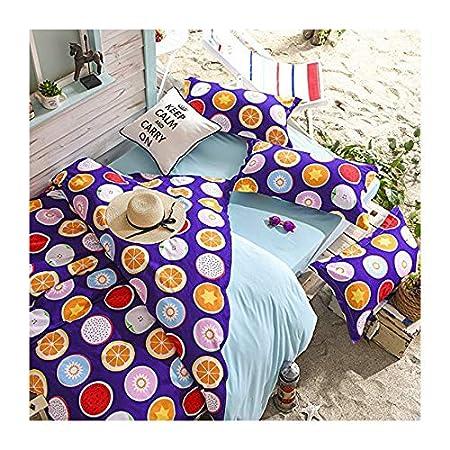 4pcs Beddingset Duvet Cover Without Comforter Shamsheet Pillowcase KY Twin Full Queen Fruits Lemon Orange Design (Full, Apple, Red) Nova