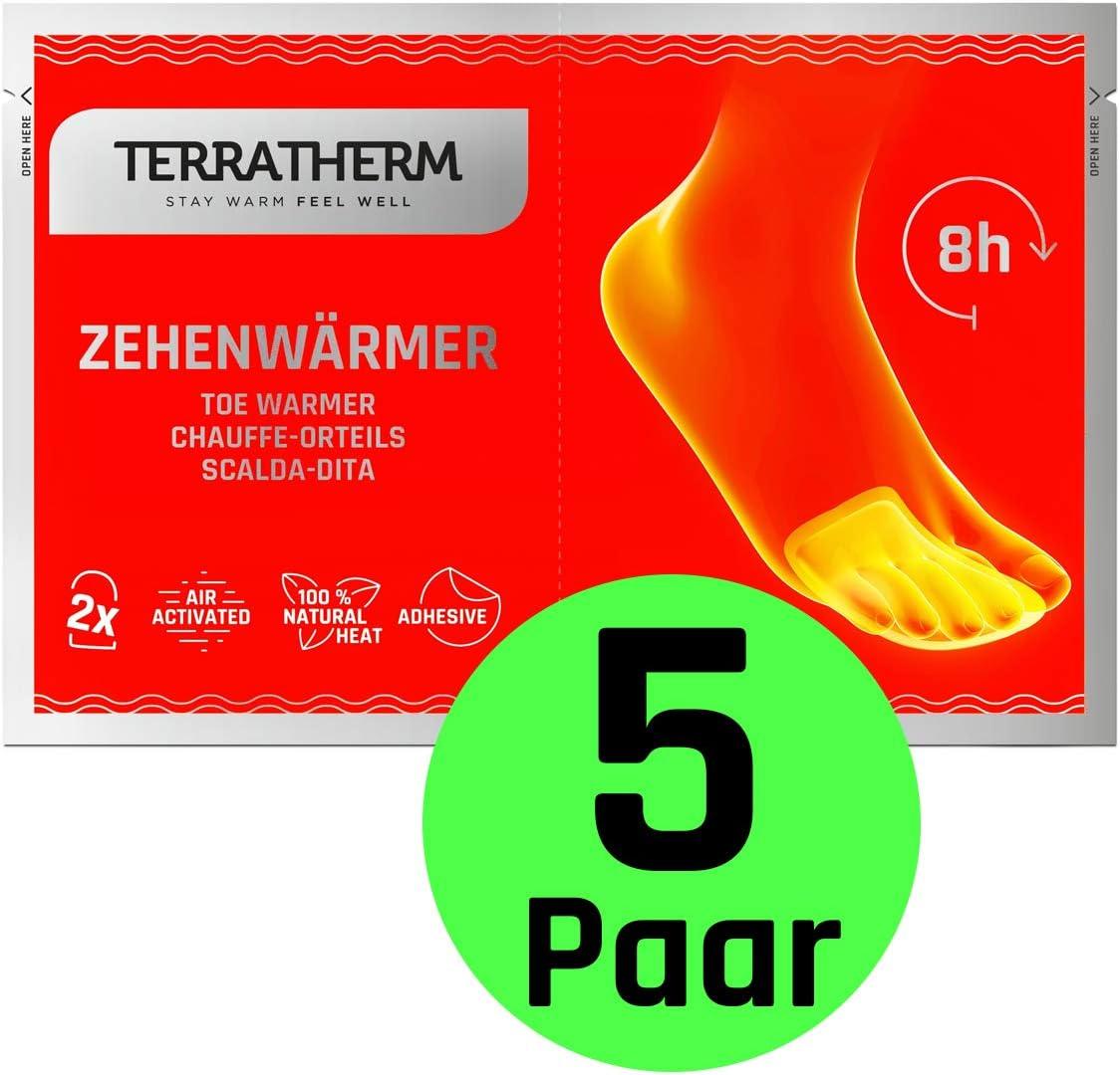 TerraTherm Calienta pies Adhesivos, Calcetines con calefacción de 8 Horas, Calentadores de Dedos y Calentadores de pies, adecuados para Todo Tipo de Zapatos, Extra Finos, y cómodamente Suaves