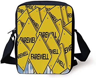 Going Away Party Decorations,Multiple Road Signs with Text Farewell Journey Holiday,Yellow Black White Print Kids Crossbody Messenger Bag Purse