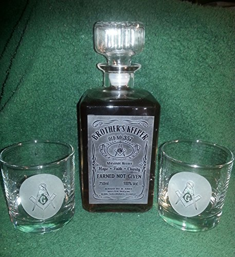 Personalized Square Masonic Whiskey Label Decanter - Hand Sand Etched