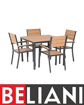 Ensemble de Jardin Aluminium Table et 4 chaises Plastique ...