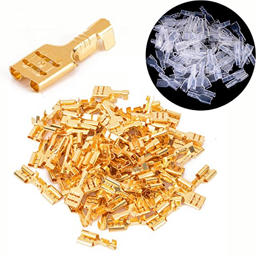 HOODDEAL 100 pairs (200pcs) Set 6.3mm Crimp Terminals Female Spade Connectors & Insulating Sleeve AWG 22-16 0.5mm2-1.5mm2