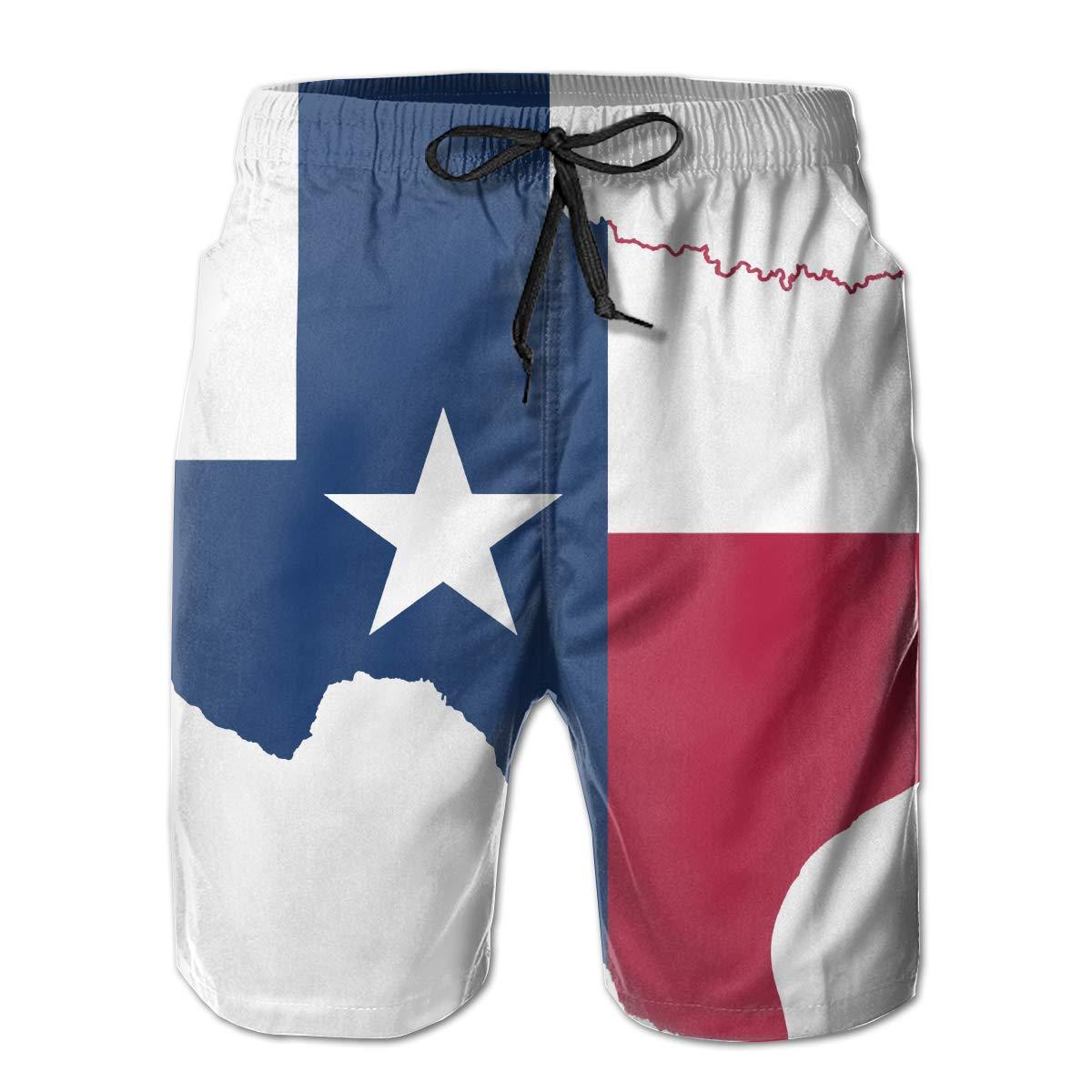 Zzfsxt Texas Flag Mens 3D Print Graphic Quick Dry Summer Boardshort Beach Short
