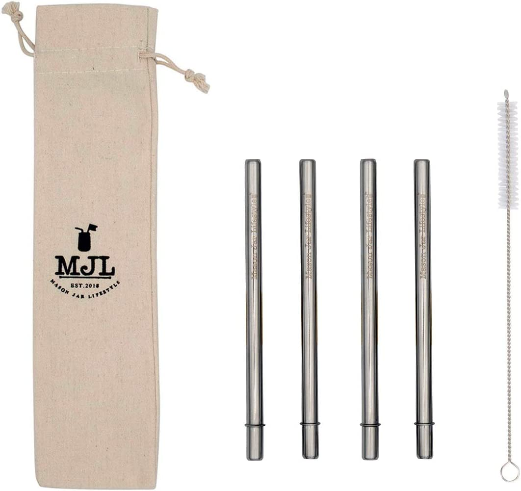Short Safer Rounded End Stainless Steel Straws for Half Pint Mason Jars, Cocktails, Coffee Mugs, Small Glasses or Cups (4 Pack + Cleaning Brush + Bag)