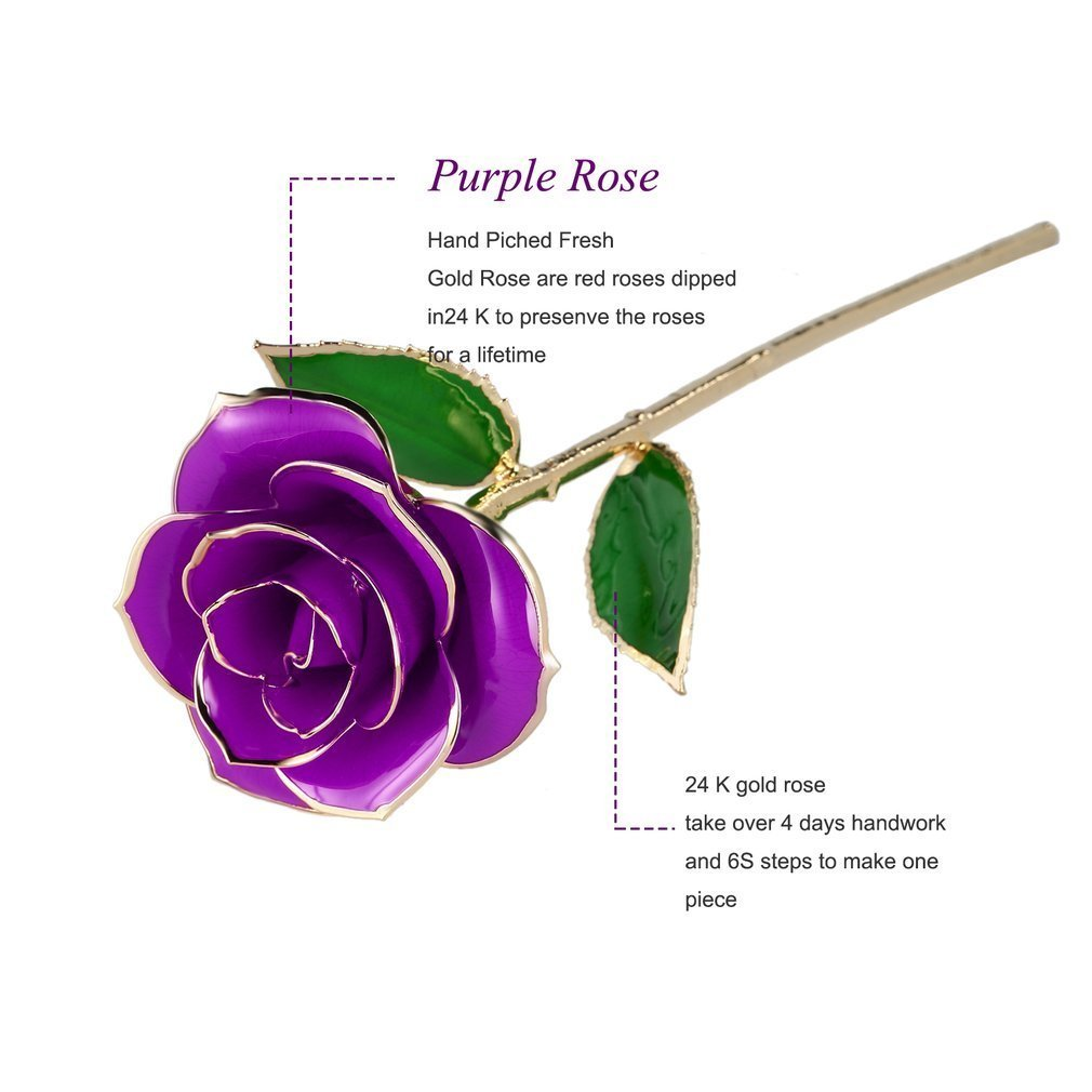 Kingpeony Valentines Day Gifts, Forever Gold Rose 24K Artificial Flowers Dipped Rose Gold Plated Rose with Transparent Stand for Lover, Mother, Girlfriend, Forever Gold Dipped Rose (Purple)