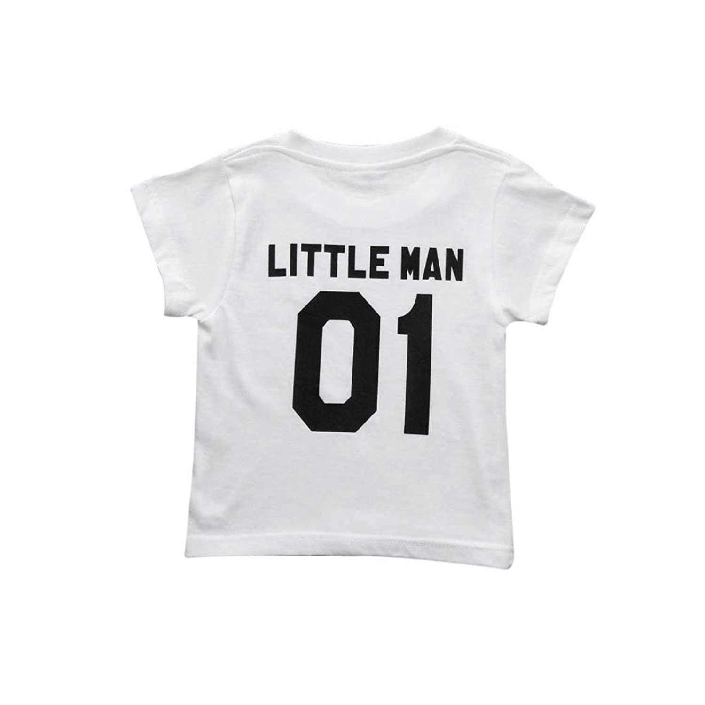 Webla Toddler Kids Boys Short Sleeve Letter Little Man T Shirt Tops Ages 2-7 Years