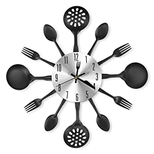 "CIGERA 14"" Kitchen Cutlery Wall Clock with Forks and Spoons for Home Decor,Black"