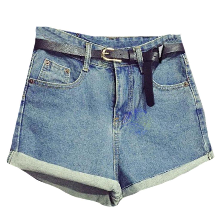 Vska Women Vintage High Waist Crimping With Belt Jeans Shorts