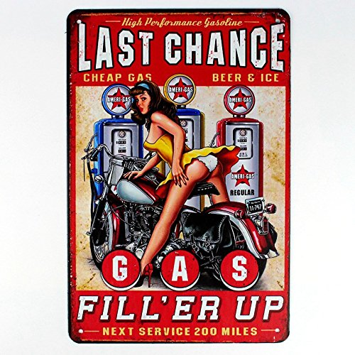 last chance gas station metal tin sign Bar Cafe Garage Wall Decor Retro vintage 8 X 12 inch