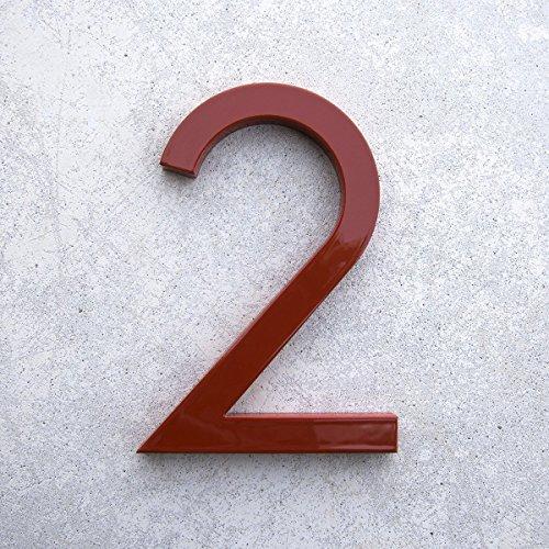 Modern House Number Red Color Aluminum Modern Font Number Two 2