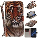 Misteem Case for Samsung Galaxy S7 Edge Animal, Cartoon Anime Comic Leather Case Wallet with Bookstyle Magnetic Closure Card Slot Holder Flip Cover Shockproof Slim Creative Pattern Shell Protective Cover for Samsung Galaxy S7 Edge [Tiger]