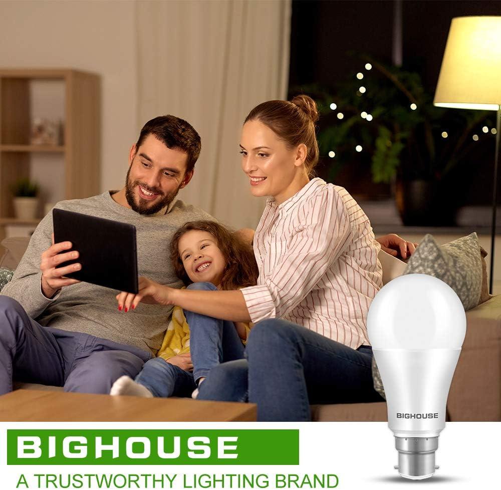 A60 B22d Energy Saving Light Bulb Pack of 6 3000K Warm White B22 LED Bayonet Bulbs 13W 1200LM B22 LED Light Bulbs 100W Equivalent