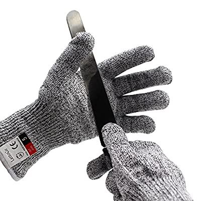 LattoGe Cut Resistant Gloves - With Hang Rope, EN388 Certified,Food Grade, Level 5 Protection, Kitchen Hand Protection Yard-work Cutting and SlicingSafety Gloves