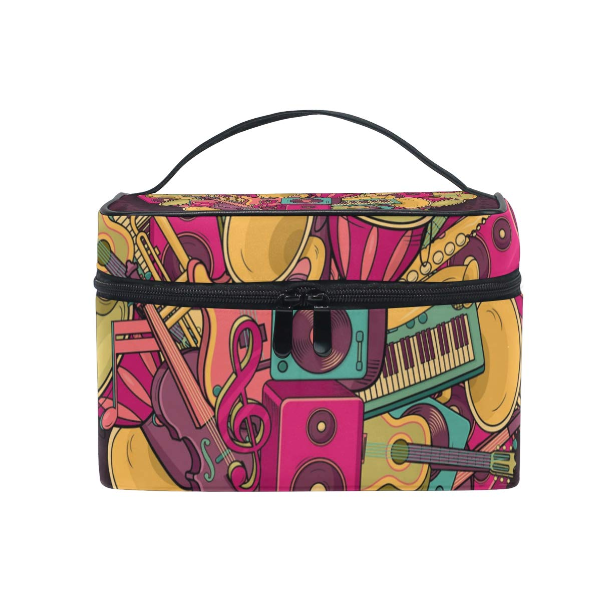 Cosmetic Bags Love Heart Guitar Piano Musical Instruments Large Travel Makeup Organizer Double Zipper Toiletry Pouch Bag