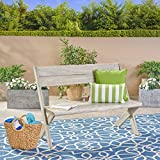 Great Deal Furniture Irene Outdoor Acacia Wood Bench, Light Grey Review
