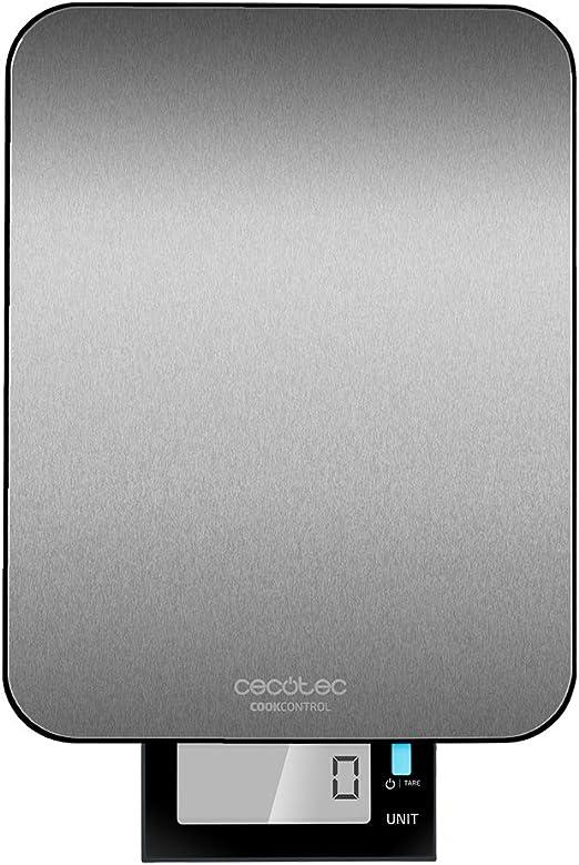 Cecotec Báscula de Cocina Digital Cook Control 9000 Waterproof. Acero Inoxidable, Resistente al Agua, Pantalla LCD Retroiluminada Extraíble, Capacidad Máxima 10 Kg: Amazon.es: Hogar