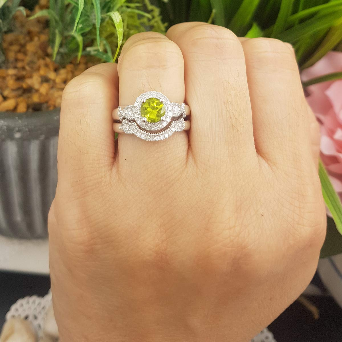 Dazzlingrock Collection 10K 6 MM Round Peridot & White Diamond Ladies Halo Engagement Ring Set, White Gold, Size 8 by Dazzlingrock Collection (Image #4)