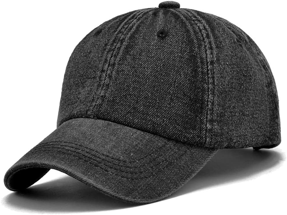 LDDENDP Mens Womens Denim Baseball Cap Vintage Cotton Washed Distressed Hat Twill Solid Color Adjustable Daddy Cap Fashion Casual Light Body Cowboy Hat Outdoor Sports Cap Color Low-key Six-panel Bas