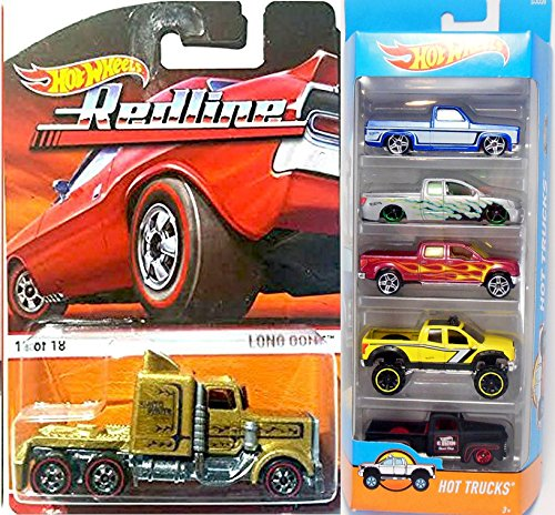 Hot Wheels Hot Trucks & 4 x 4 5-Pack Set & Long Gone Truck Gold Redline Heritage Rig - '83 Silverado / Nissan Titan / 2009 Ford F-150 / '10 Toyota Tundra / '49 Ford F1