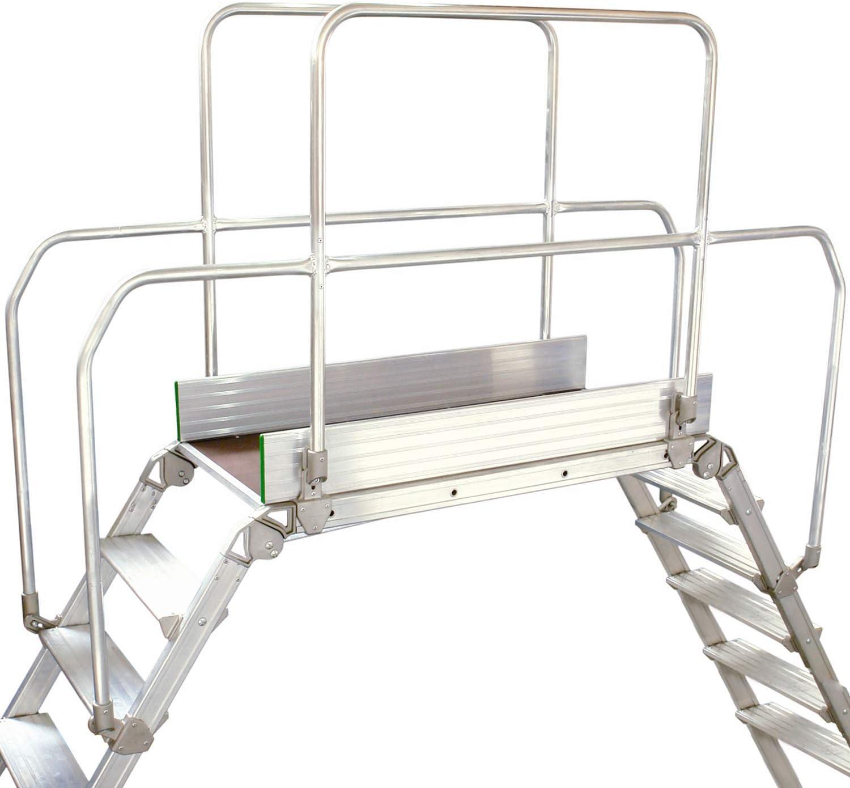 Escalera de puente industrial de 7 peldaños y mango – Escalera cruzada – Plataforma 1,2 m x 0,5 m – Puente de trabajo de aluminio premium escaleras y pasamanos – Escaleras de